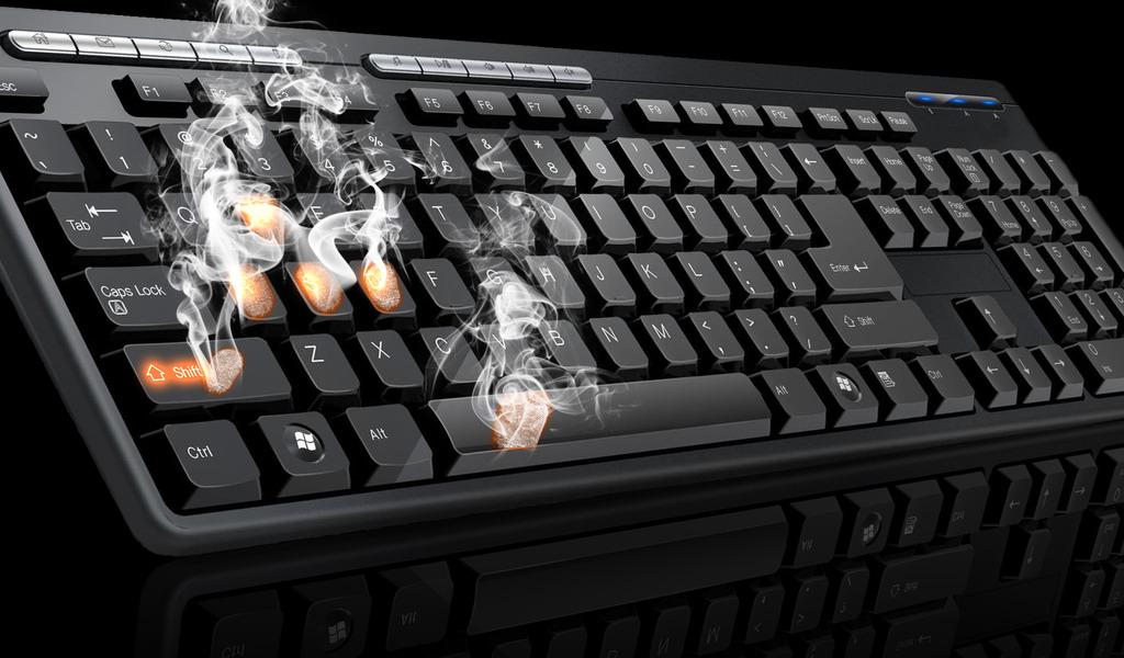 Черная клавиатура с горячими клавишами