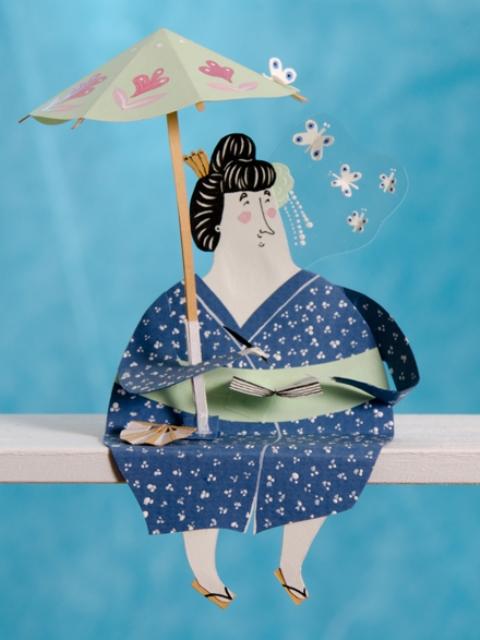Забавная фигурка бумажной дамы с зонтиком