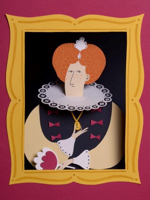 Забавная фигурка бумажного портета средневековой дамы