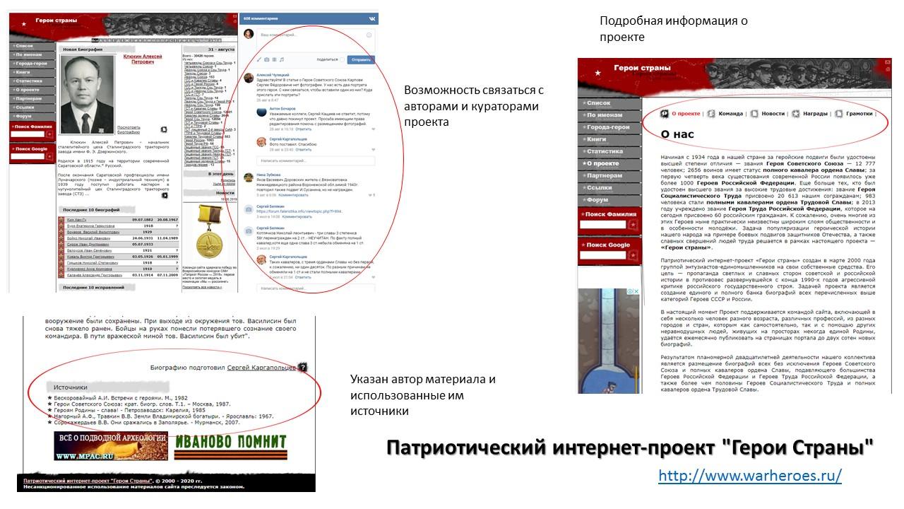 "Скриншоты сайта ""Герои страны"""